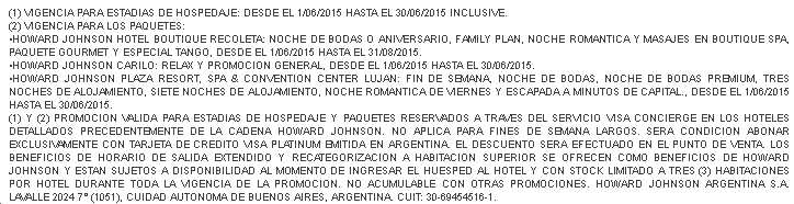Visa Howard Johnson Condiciones