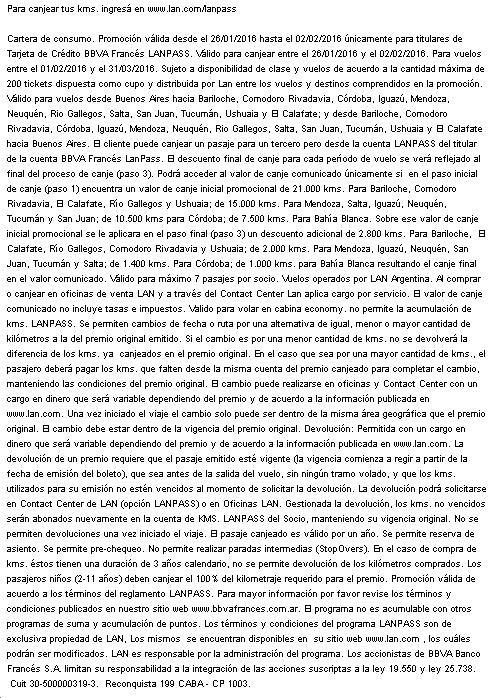 BBVA Lanpass 35 Letra chica