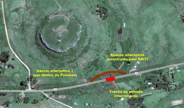 mapa desvio alternativo livramento BR-158