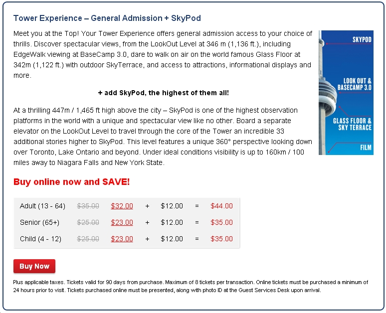 CN Tower Tickets SkyPod