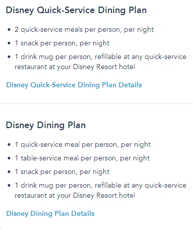 Disney Dining Plan Quick Table