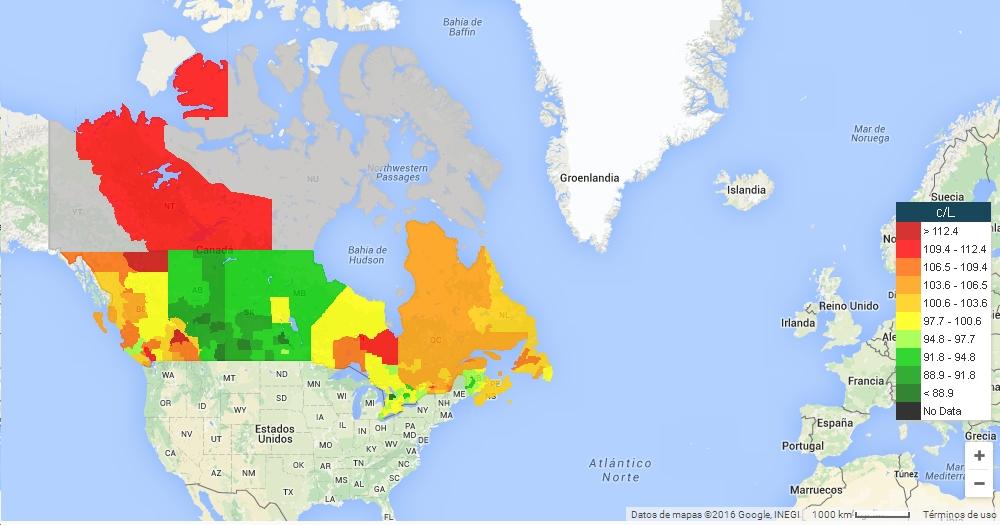 GasBuddy Mapa Canada