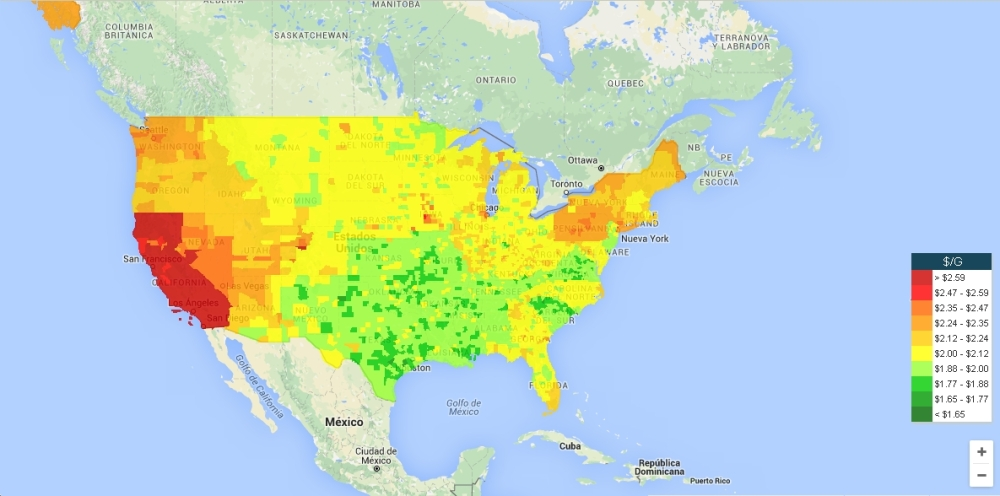 GasBuddy Mapa USA