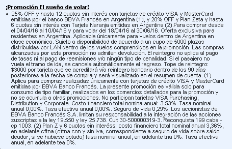LAN Travel Sale Letra Chica