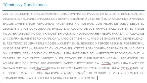 Aerolineas Banco Hipotecario Letra Chica